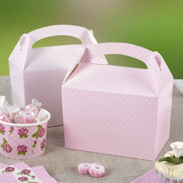 Polka Dot Pink Lunch Boxes (8)